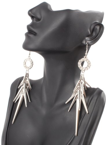 Silver Iced Out Lady Gaga Poparazzi Circle Earrings with Spikes Light Weight Basketball Wives