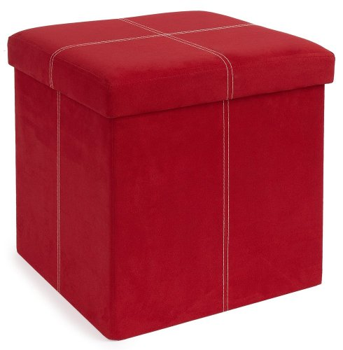 group microsuede folding storage ottoman 15 by 15 by 15 inches red