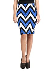 Mayra Women's Cotton Stretch Pencil Skirt(1602B11295_XL Blue )