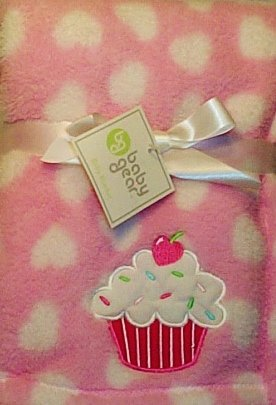 Cupcake with a Cherry on Top Baby Blanket (Pink) - 1