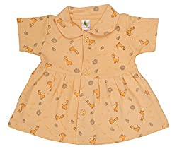 orange color new born dress