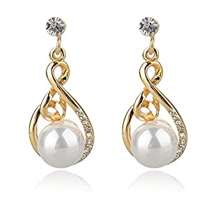 GOMO Gold/Silver Pearl Drop Earrngs Retro Dangle Earrings Earrings Jewelry er Earrings