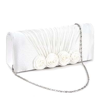 Sac a Main Pochette Style Portefeuille Rabat Fronce 4 Rose Floral en Relief pr Femme Fille Blanc