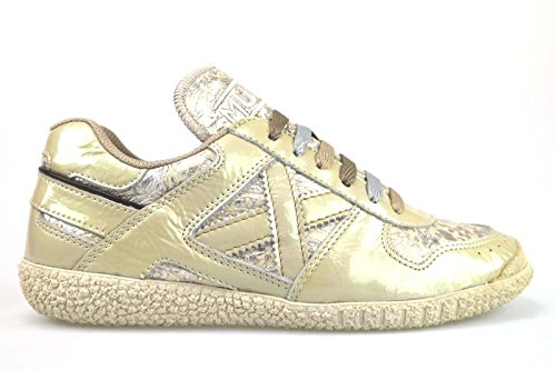 scarpe donna MUNICH 36 sneakers beige vernice tessuto AM725