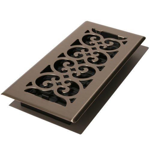 Decor Grates SPH214-NKL 2-Inch by 14-Inch Scroll Floor Register, Brushed Nickel (2 Floor Register compare prices)