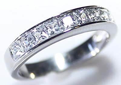 Ah! Jewellery Ladies Sparkling Swarovski Elements Princess Cut Half Eternity Rhodium Electroplated Band Ring. 4mm Total Width. 2.5gr Total Weight. Outstanding Quality.