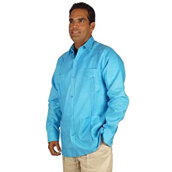 Linen long sleeve guayabera for men in turquoise blue.