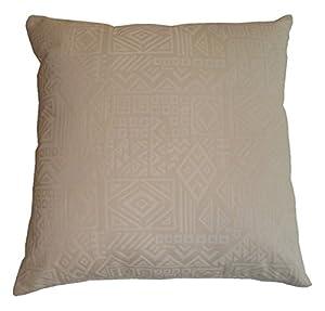 Cream Aztec Design Cushion - Large 65cm x 65cm - COMPLETE WITH VALESOFT® FIBRE FILLED INNER