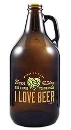 Beer Talking - Amber Glass Beer Growler, 64 oz