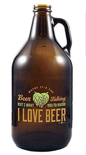 Beer Talking - Amber Glass Beer Growler, 64 oz (Cool Beer Growler compare prices)