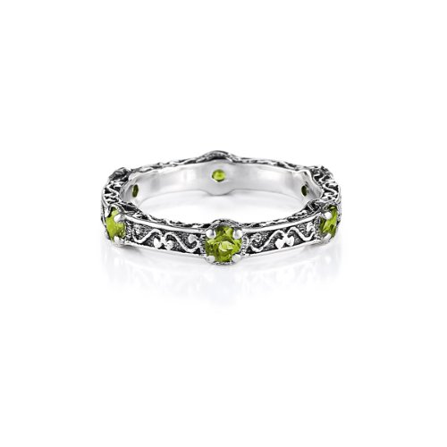 Anatoli Peridot & Sterling Silver Stackable Ring (size: 7)