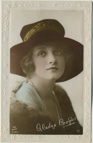 Gladys Cooper circa 1910s Real Photo Color Tinted Rotary Postcard