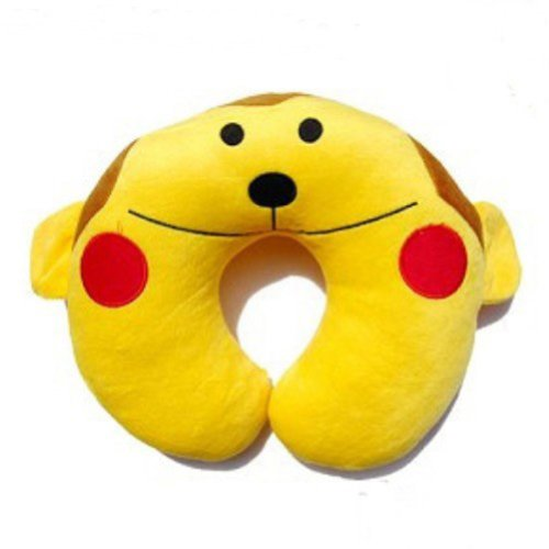 Baby Kid Child Children Infant Toddler Newborn Boy Girl Auto Car Booster Seat Stroller Travel Plush U-Shaped Neck Saver Necksaver Protector Head Support Cartoon Animal Pillow Cushion Pad (Yellow Monkey)