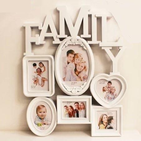 Family design photo frame white (large (39 cm * 49 cm))