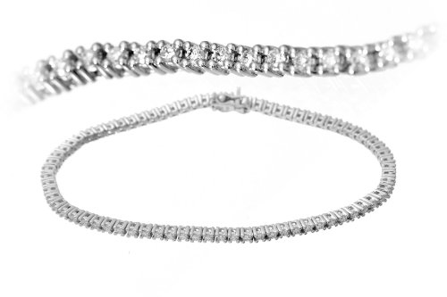 1 Carat SI Certified Diamond 4 Claw Setting Tennis Bracelet in 18ct White Gold