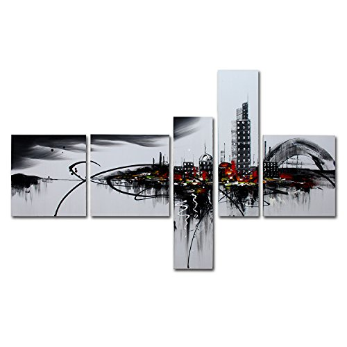 VASTING ART 5-Panel 100% Hand-Painted Oil Paintings Cloudy Cityscape Modern Abstract Contemporary Homemade Artwork Canvas Stretched Wood Framed Ready To Hang Home Decoration Wall Decor Gray Black Red (Oak Tag Poster Board compare prices)