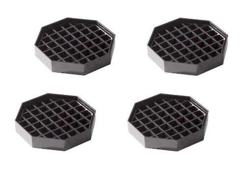 "(4 Pack) 4½"" X 4½"" Drip Tray Black Plastic Octagonal Shape"