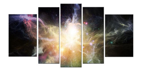 Free Moon Clock with Galaxy Canvas Wall Art Print Set for Home Decoration By Startonight 5 Pcs/set Total 35.43 X 70.87