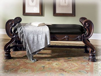 Ashley furniture old world north shore large upholstered - Ashley furniture bedroom benches ...