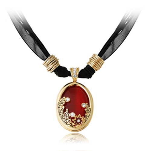 Chaomingzhen Charm Noble Flower Inlaid Round Opal Pendant Choker Necklace Fashion Jewerly for Women Purple Wax Rope Chain , Austria Crystal