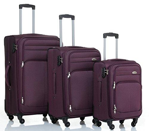 Set di 3 trolley a 4ruote, set da viaggio in plastica, articolo 8005, in 5colori lilla Set