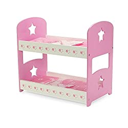 18 Inch Doll Furniture | Pink Bunk Bed With Star Theme Includes Bedding | Fits 18