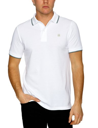 G-star Raw RCT Slim Stripe Polo Short Sleeve Men's Shirt White Medium