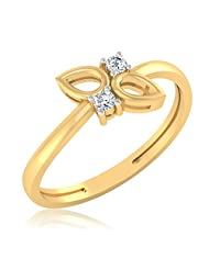 IskiUski Flora Two Stone 925 Sterling Silver 14kt Gold Plated Round Cubic Zirconia Ring For Women