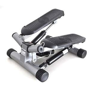 Klarfit Step Up and Down - Stepper Twister latéral pour exercices fessiers, adducteur, abdominaux pour un ventre plat (Ecran Programmable) - Noir et Blanc