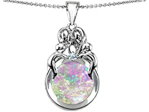 Star K Loving Mother and Family Pendant Round Created Pink Opal