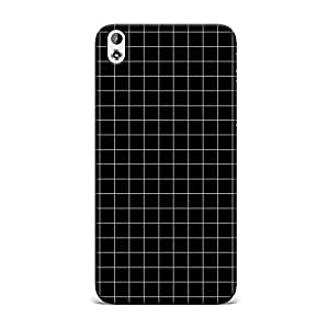 HTC 816 Case [Hard Protective Cover] Printed Design- Black Grids Printed Case