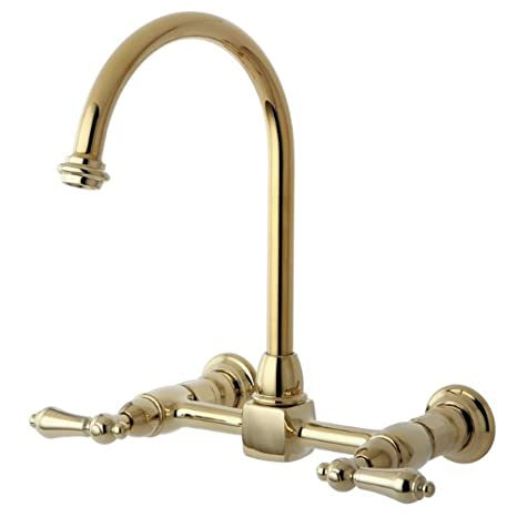 Kingston Brass KS1292AL Heritage Double Handle 8-Inch Center Wall Mounted Gooseneck Kitchen Faucet, Polished Brass