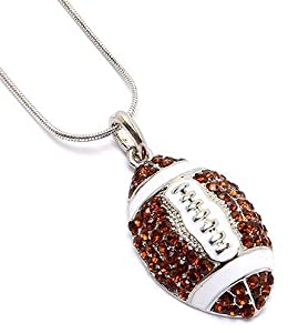 Team Sport Silvertone Brown Crystal and Enamel Football Women Charm Pendant Necklace Sports Jewelry