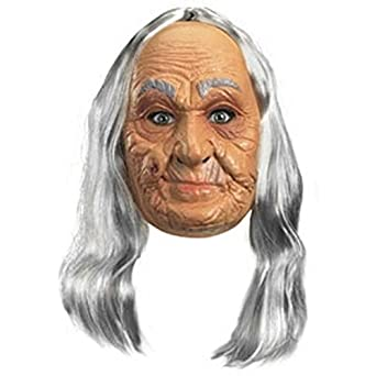 Old Lady Costume: Vinyl Mask - Adult's One Size Fits All