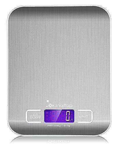 KingTop Balance de Cuisine Numérique avec Une Capacité de 5kg en Acier Inoxydable [Satisfaction garantie]