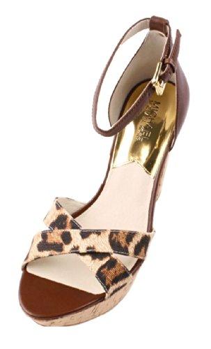 Michael Kors Camilla Mocha Ankle Strap Platform Sandal Women Size 8.5 M .