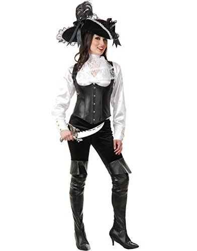 Womens White Satin Pirate Shirt Blouse