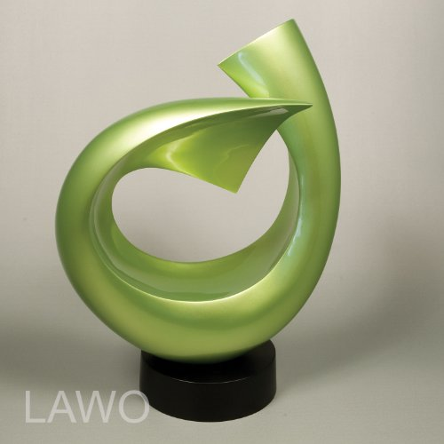 LAWO 103373 Sculpture Design in Laccato LINUS verde Moderno Art Decorazione Oggetto Esclusivo Scultura in Legno