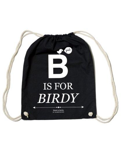 Gym Bag Black 'B Is For Birdy' +++ Made By Streetwear Design Grafic Label SILBERFISCHER +++ HANDMADE IN BERLIN