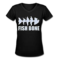 Fish Bone Stop335?girl's V-neck?fish Bone Shirt 100%?cotton Comfortable