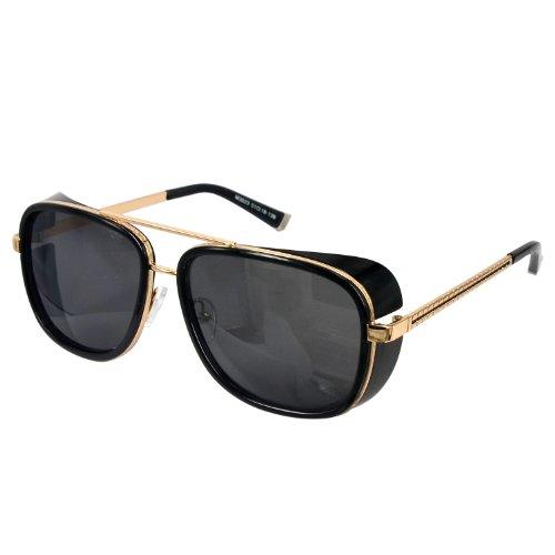 Unisex-Retro-Sidecups-Steampunk-Sunglasses-Gold-Arm-Shinny-Black