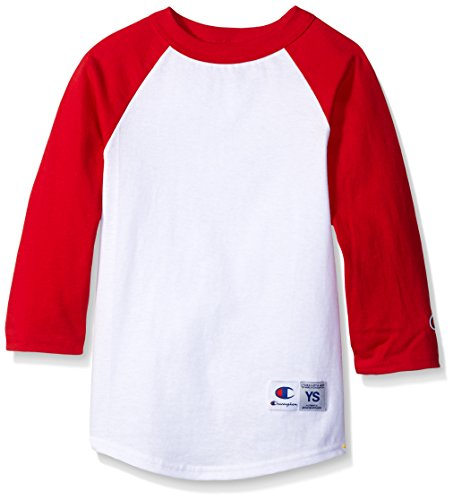 Champion Boys Boys' Big Boys' Raglan Baseball Tee, White/Scarlet, Medium (Baseball Tee Champion compare prices)