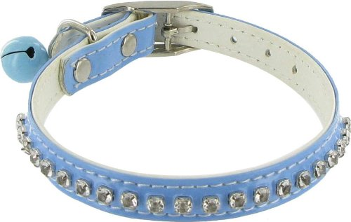 Hollywood Rhinestone Dog or Cat Collar with Bell - Blue, 3/8