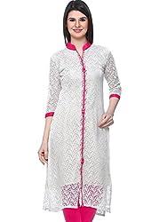 Madhuram Fabric Women's Cotton Kurti (Mf-1010_Red_Pink_Free Size)