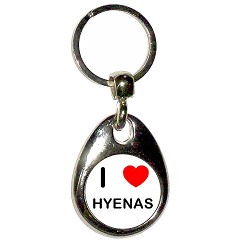 I Love Heart Hyenas - Chrome Tear Drop Shaped Double Sided Key Ring