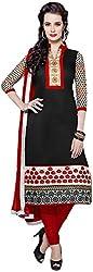 VM Trendz Women's Chanderi Cotton Semi-Stitched Salwar Suit (VMT-JL42, Wine Red & Black)