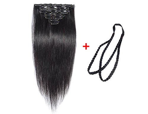 ALi-Queen-15-22-6A-Virgin-Brazilian-Straight-70g-Clip-in-Human-Hair-Extension-7pcsset-Clip-in-Hair-Acessories-1pcs-Plait