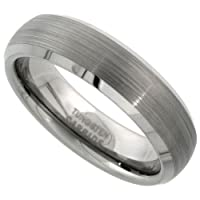 Tungsten 6 mm (1/4 in.) Comfort Fit Dome Wedding Band Ring w/ Brushed Finish and Beveled Edges (Available in Sizes 5 to 12), size 8.5