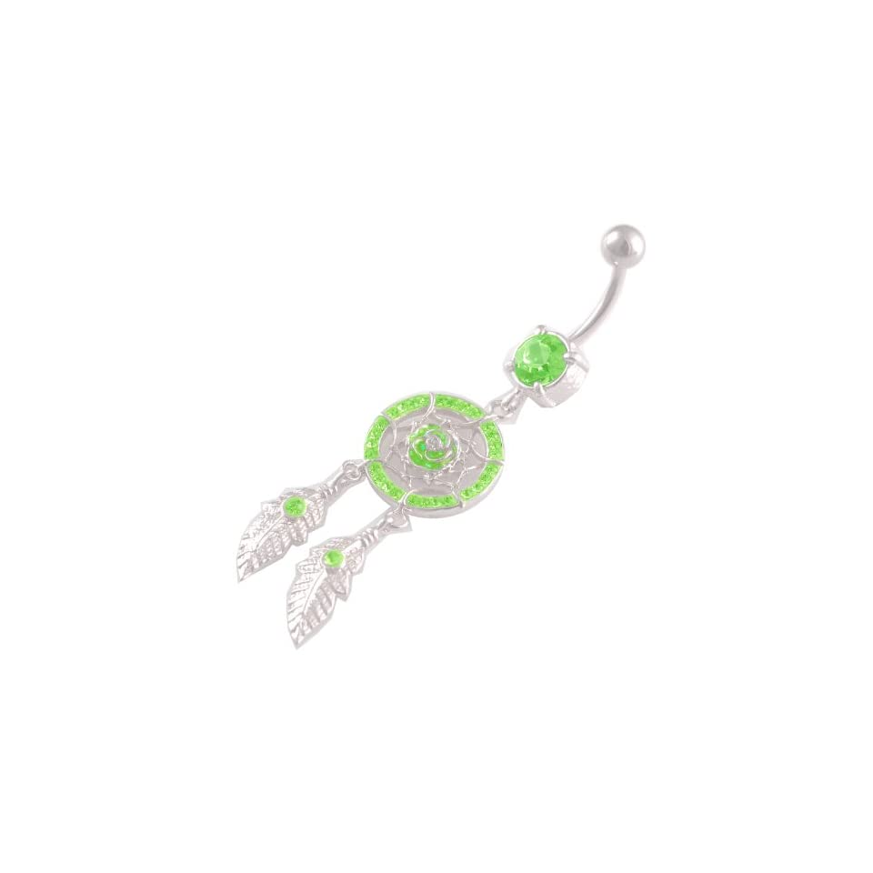 14 Gauge 1.6mm 3/8 10mm Rose Dreamcatcher peridot Crystal Ferido belly ring navel button dangling ASRS