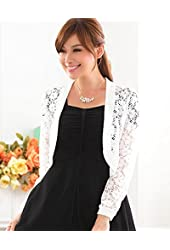 Modekini Women's Floral Lace Long Sleeves Cover Up Shrug